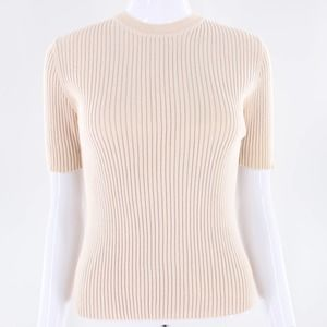 The Limited Ribbed Cream Beige Knit Sweater Top L